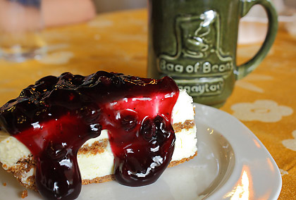 blueberry cheesecake and a cup of coffee at Bag of Beans, Tagaytay, Cavite