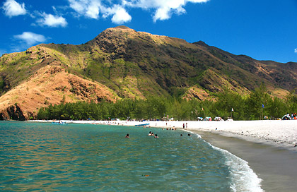 Anawangin Cove with hills in the background, San Antonio, Zambales