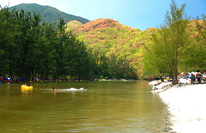 evergreen trees and creek at the back of the beach at Anawangin Cove