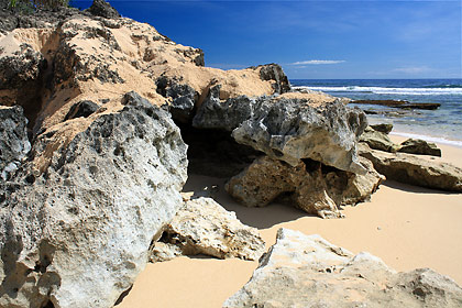 rocks at the southern end of Patar Beach, Bolinao