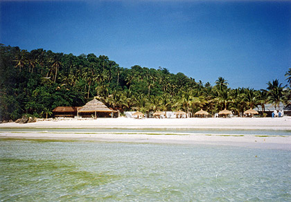 white sandy beach and shallow waters on the northern end of White Beach, Boracay, Aklan