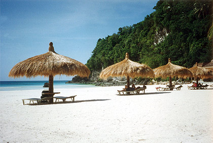 huts along the northern end of White Beach, Boracay