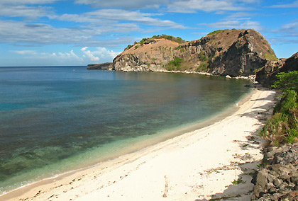 view of white sand beach from a hill, Capones Island, San Antonio, Zambales