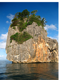 limestone karst formation at sea near Gota Beach