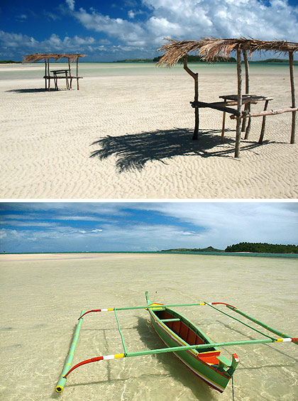 two photos of the Manlawi Sandbar off Lahuy Island