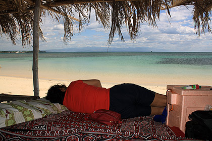 Nina sleeping in a hut overlooking Tambobong Beach, Dasol, Pangasinan