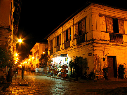 houses along Calle Crisologo at night, Vigan, Ilocos Sur
