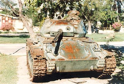 rusting World War 2-era light American tank, Lingayen, Pangasinan