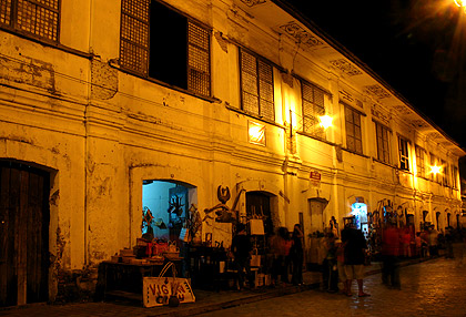 houses at night, Calle Crisologo, Vigan, Ilocos Sur