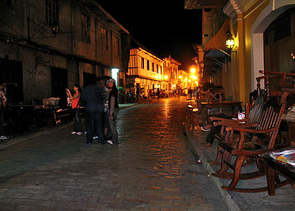 wooden furniture on display at Calle Crisologo at night, Vigan, Ilocos Sur