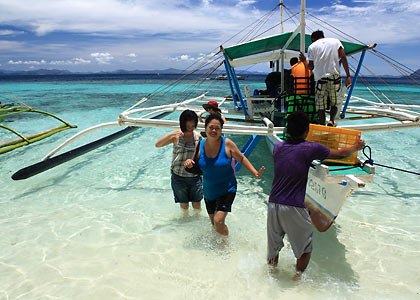 disembarking at Banol Beach, Coron, Palawan