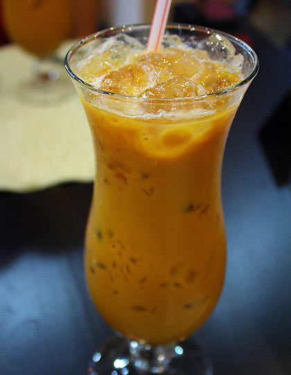 tall glass of Thai iced tea