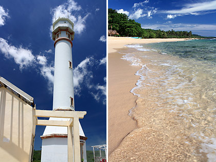 Right Cape Bolinao Lighthouse Left The Creamy White Sand At Patar Beach